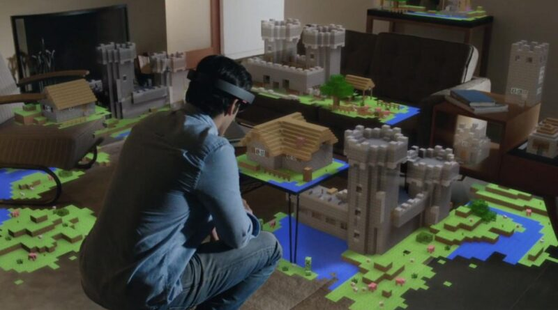 Hombre con Minecraft Hololens