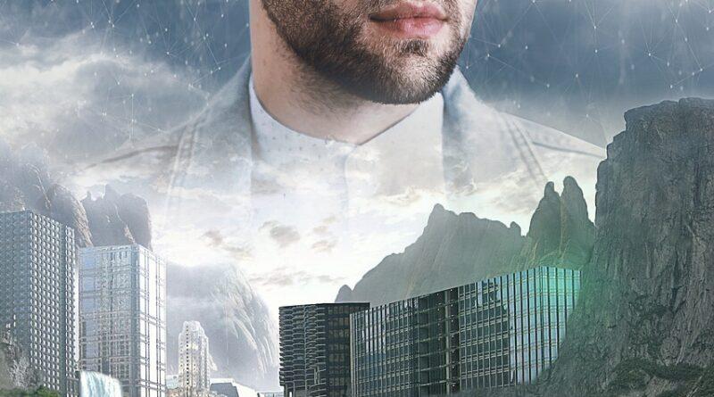 Hombre con gafas de realidad virtual sobre una ciudad