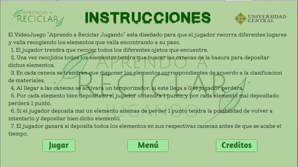 Escena Instrucciones - Aprendo a Reciclar Jugando