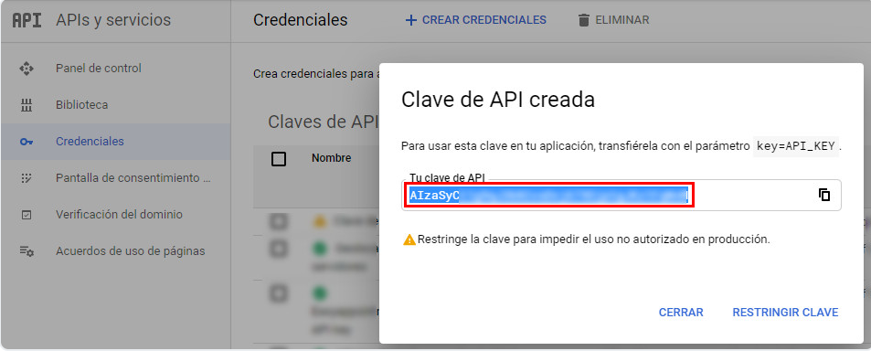 Configurar API key Google Maps