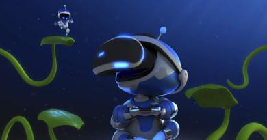 Personaje de videojuego usando gafas de realidad virtual Ps4