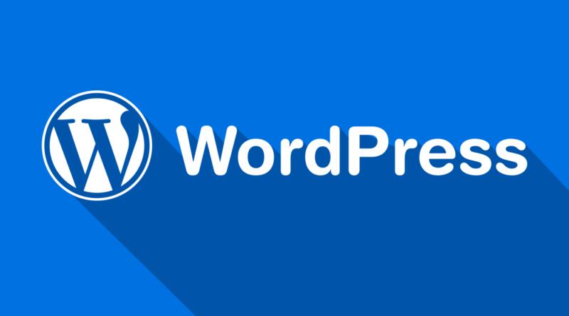 Logo de WordPress con fondo azúl
